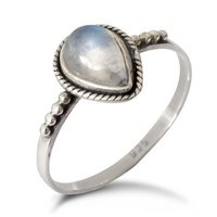 Natural Rainbow Moonstone Water Drop Gemstone Ring Indian Handmade Silver Jewelry 925 Silver Ring