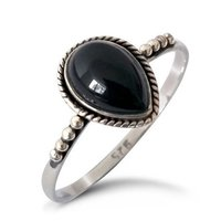 Natural Black Onyx Drop Gemstone Indian Handmade Sterling Silver Jewelry 925 Silver Ring