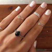 Natural Black Onyx 925 Silver Ring