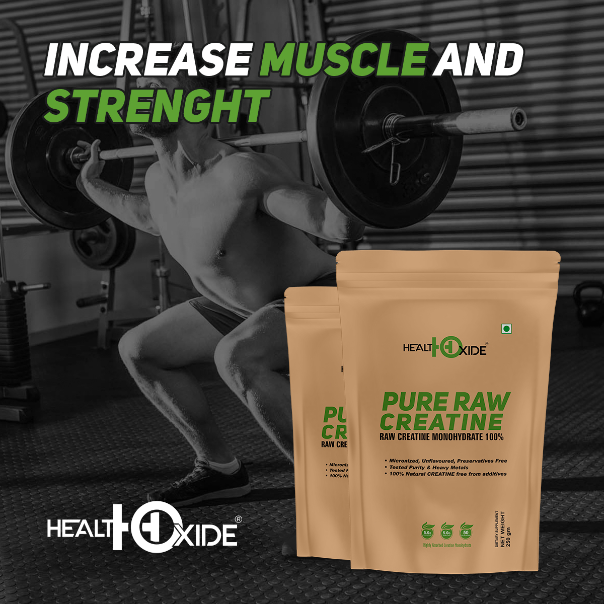 HealthOxide Pure Creatine Monohydrate for Muscle Building - 250 gm