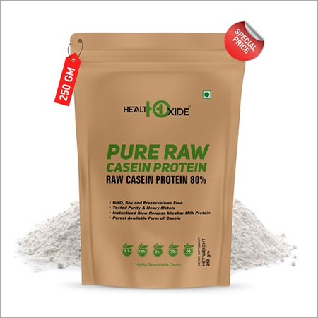 HealthOxide Pure Raw Micellar Casein Protein 80% (Raw & Unflavored / 24 G Protein Per Serving) - 250 gm