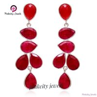 Natural Ruby Gemstone  925 Silver Earring