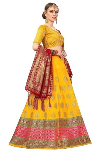 Art Banarasi Lehanga Choli Yellow Colors