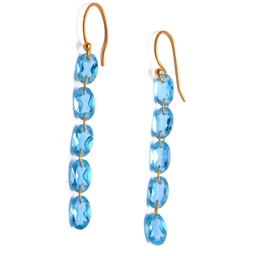 Lovely Special Collection Blue Topaz Faceted Gemstone 925 Sterling Silver Handmade Earring