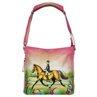 New Hand Painted Leather Shoulder Bag Horse Design