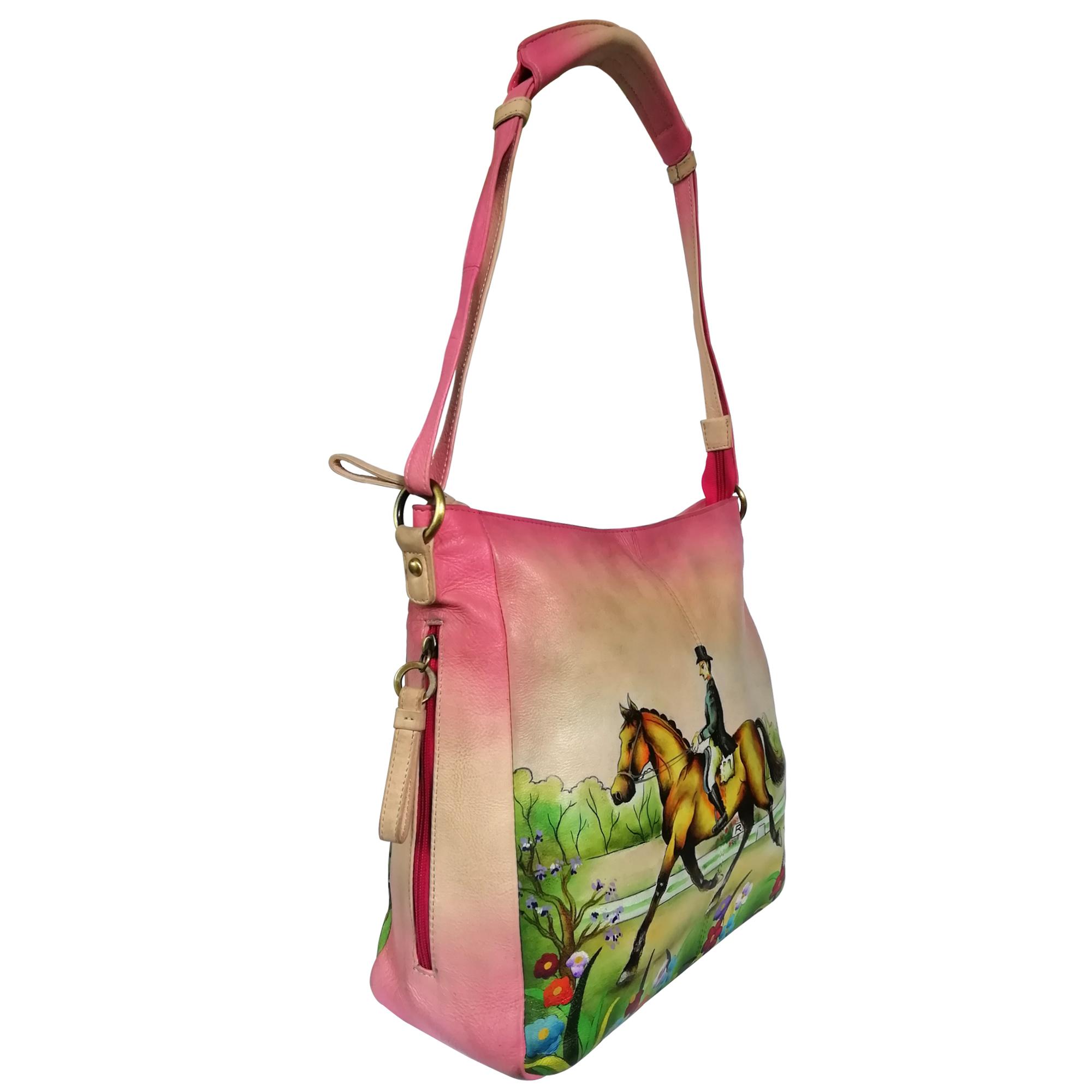 New Hand Painted Leather Shoulder Bag Horse Design