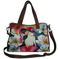 New Hand Painted Women Leather Shoulder Handbag
