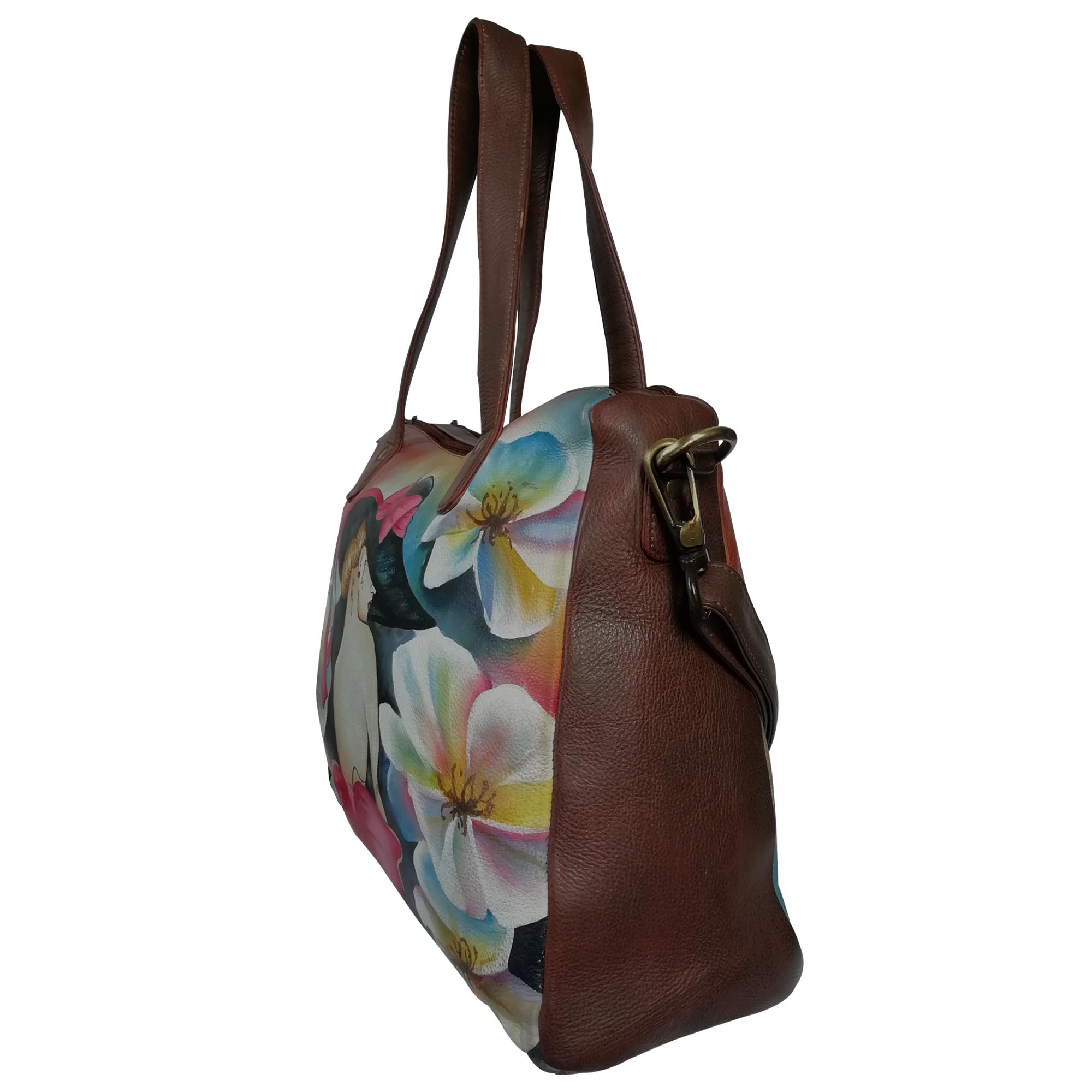 New Hand Painted Women Leather Shoulder Handbag