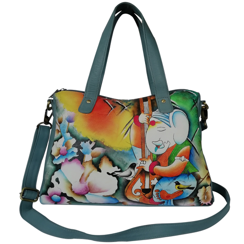 New Hand Painted Leather Shoulder Handbag Design Ganesha
