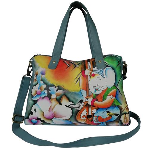 New Hand Painted Leather Shoulder Handbag Design Ganesha