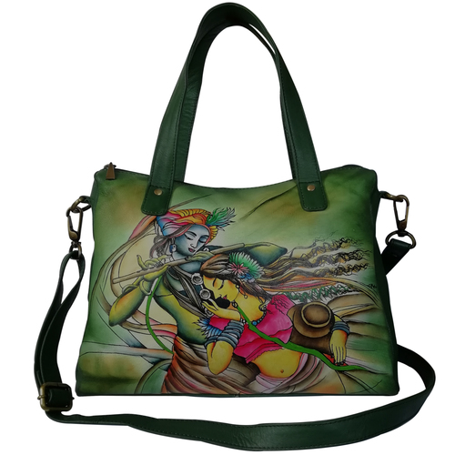 New Leather Hand Painted Shoulder Handbag Design Radha Krishna