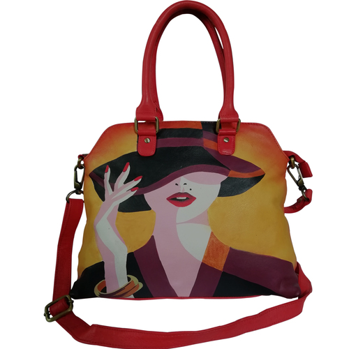 New Hand Painted Leather Shoulder Handbag Design Lady In Hat