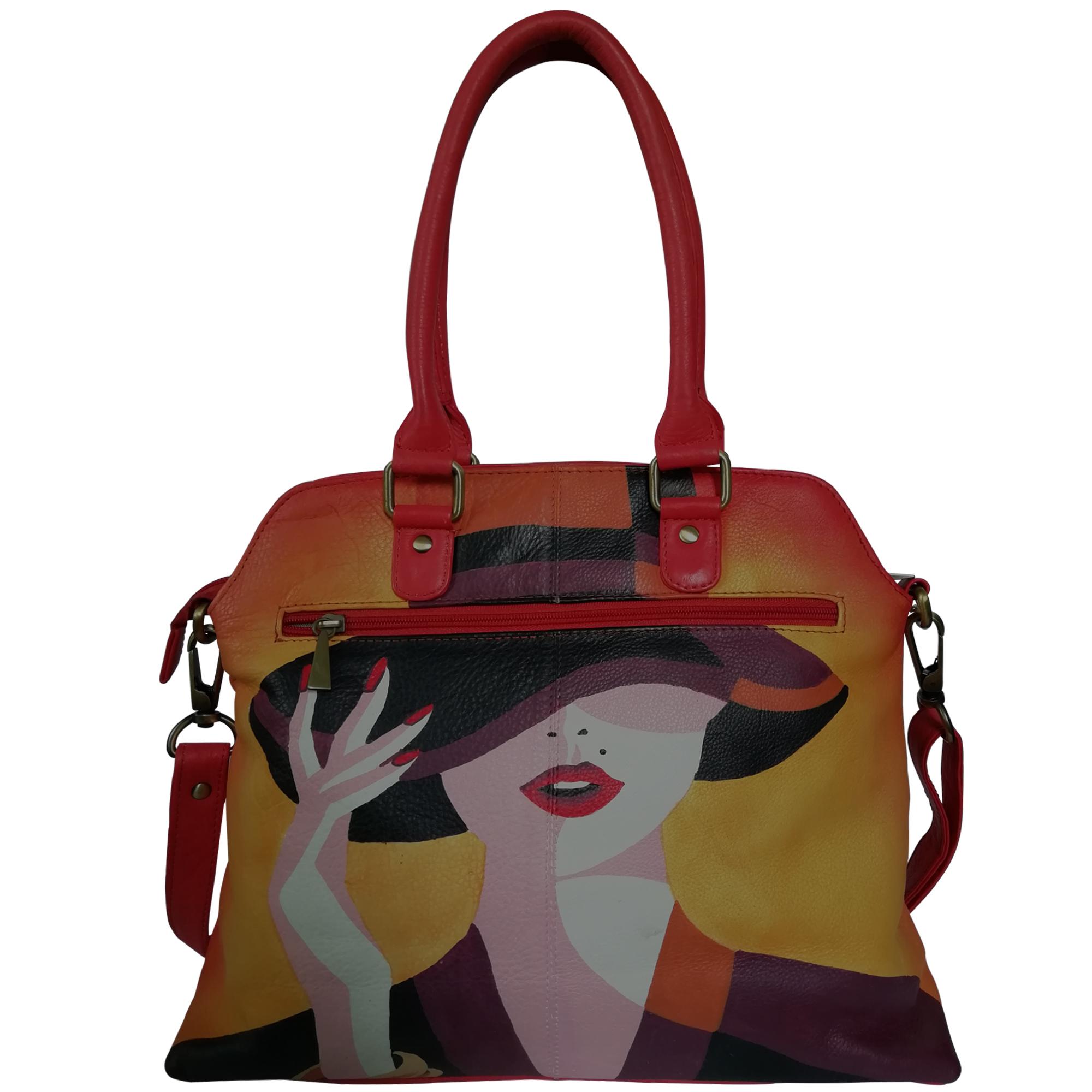New Hand Painted Leather Shoulder Handbag Design Lady In Hat