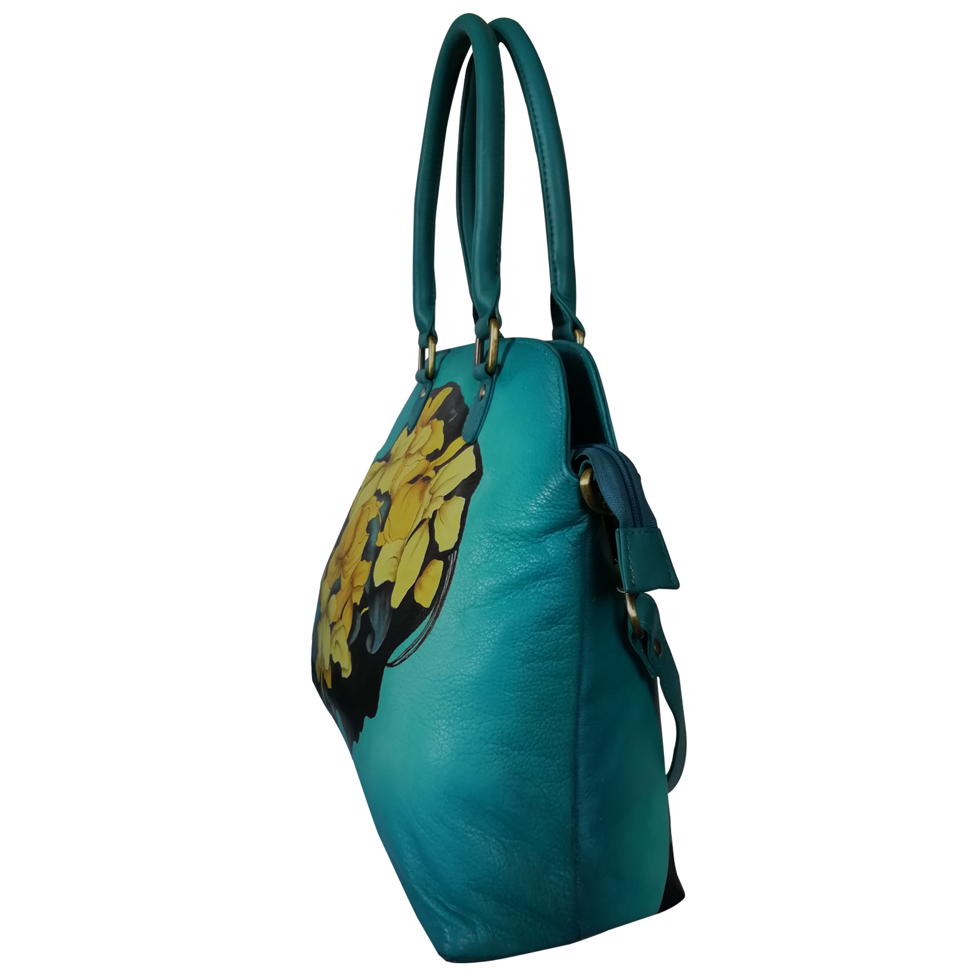 New Hand Painted Leather Shoulder Handbag Design Leaves Teal