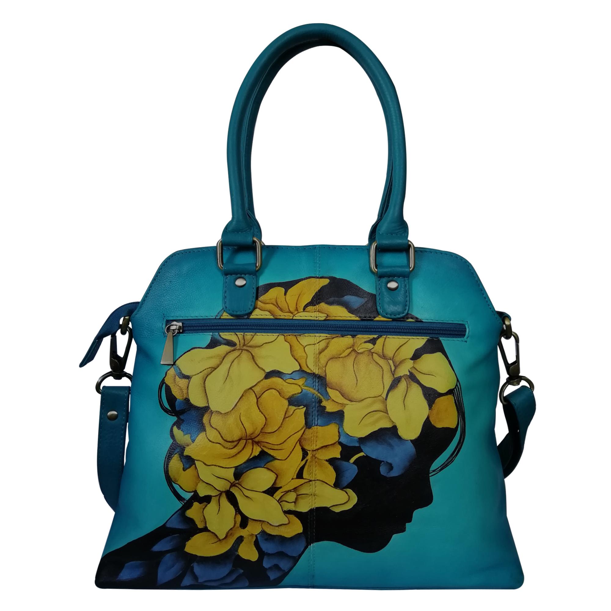 New Hand Painted Leather Shoulder Handbag Design Leaves Teal