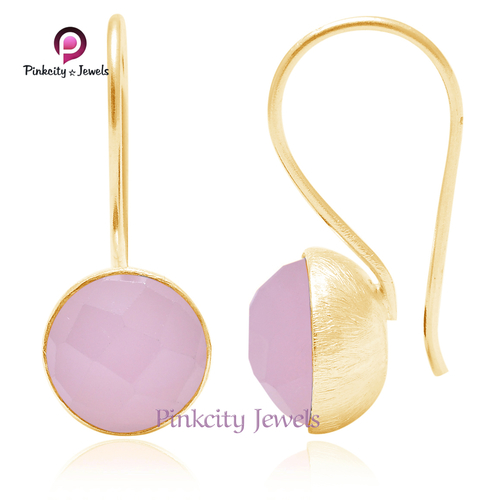 Pink chalcedony Faceted 925 Silver Earrings