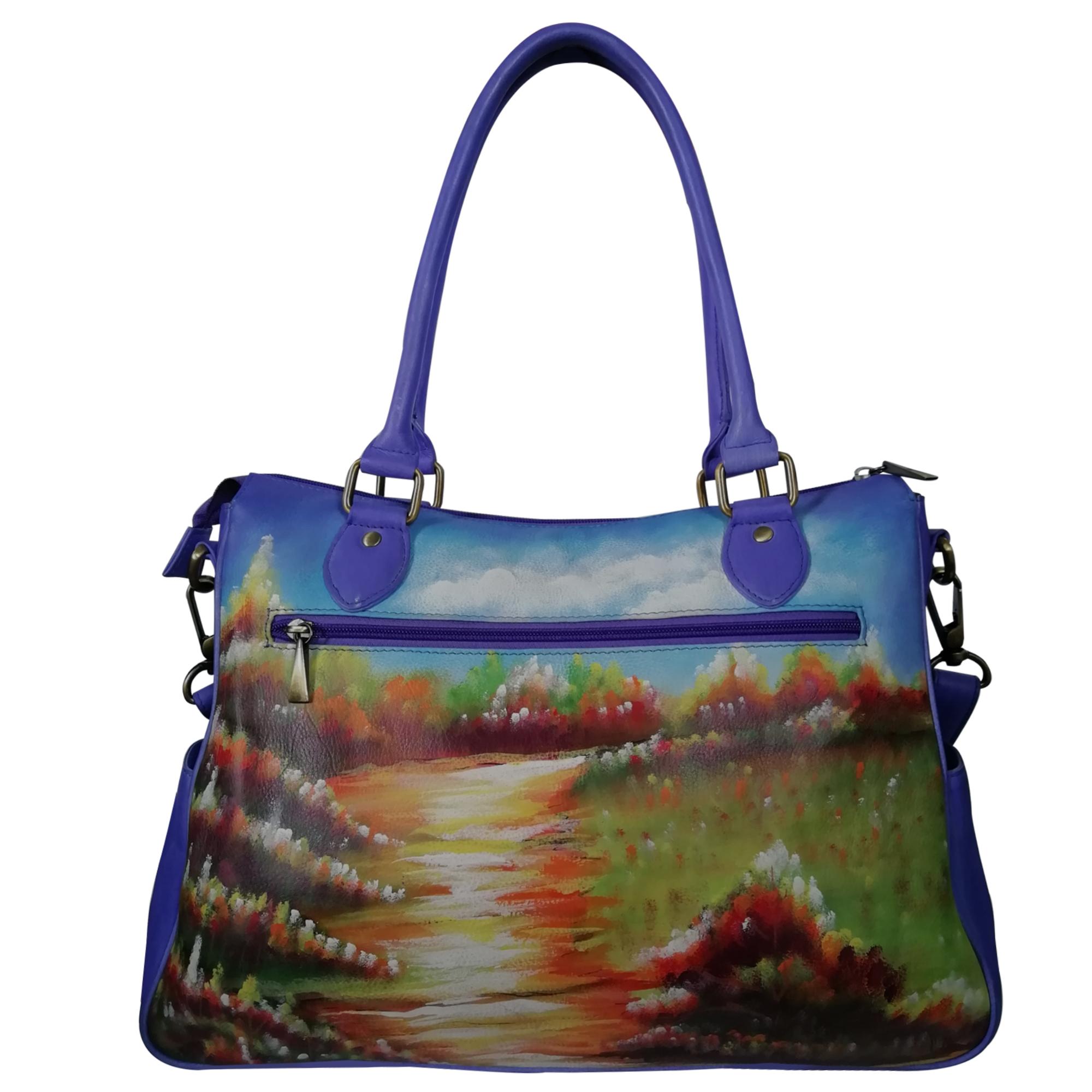 New Hand Painted Leather Shoulder Handbag For Women