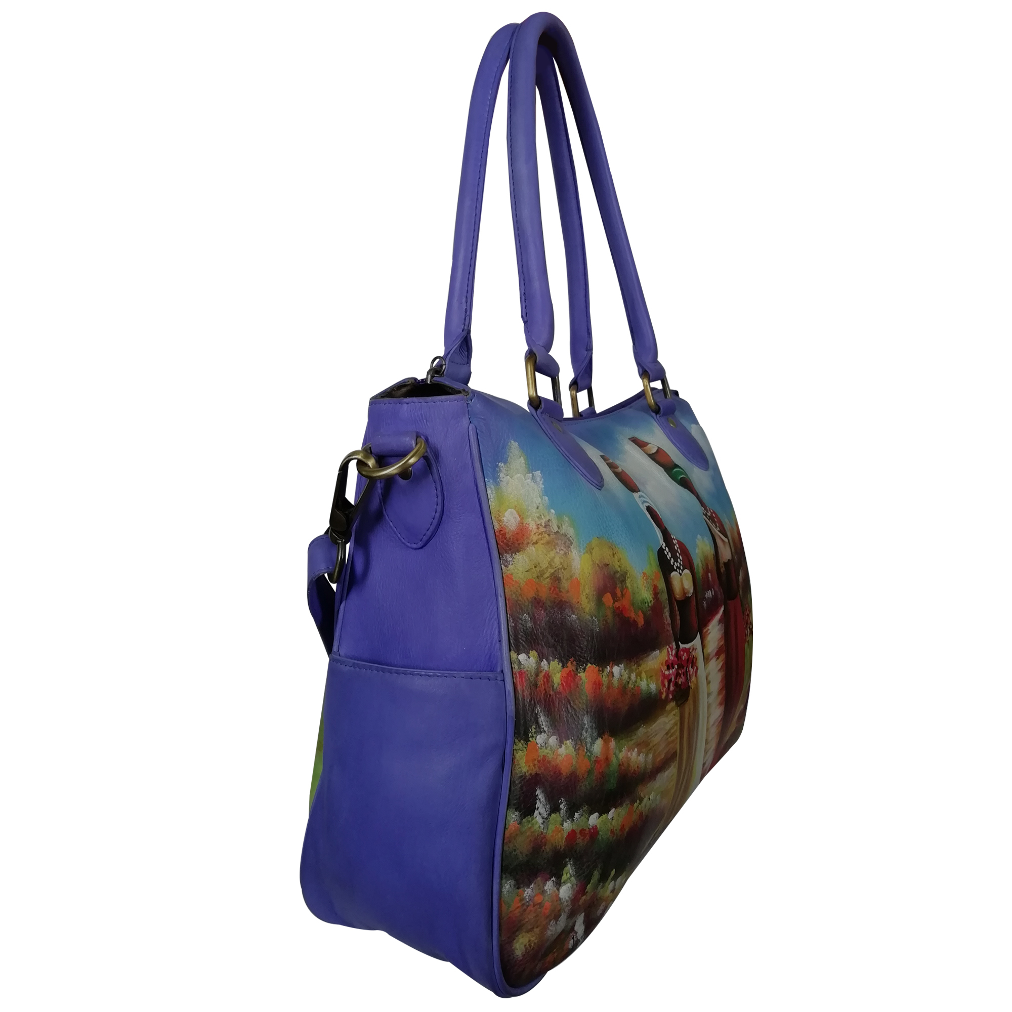 New Hand Painted Leather Shoulder Handbag For Women