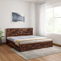 Solid wood Wooden bed Diamond with two trolly