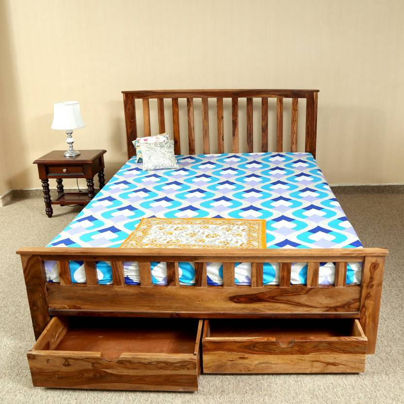 solid wooden bed Front double trolly