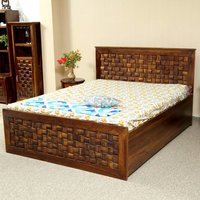 Solid Wood Double Bed Hydraulic Storage