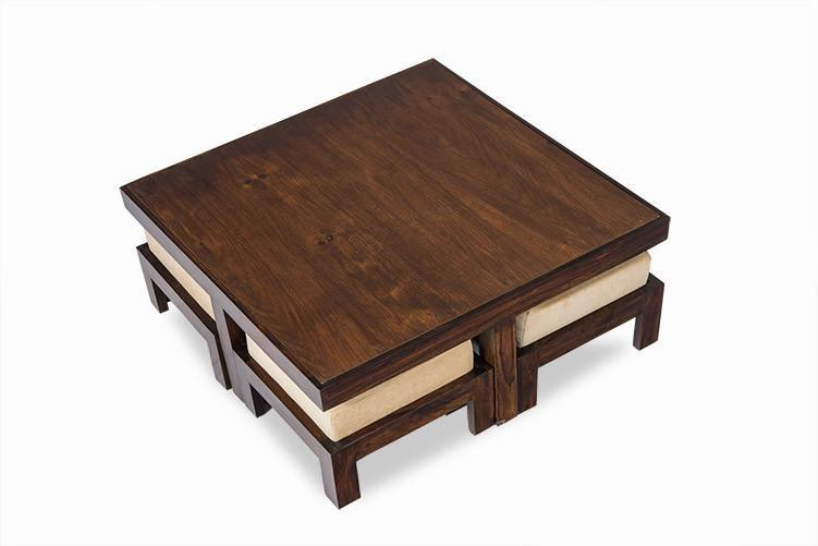 Solid wood Coffee table set with stool