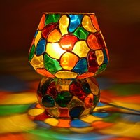 Decent Glass Multi Color Hand Painted Table Lamp (17 cm, Multicolor) Use Best Color Combination for Color Light Home Decor Lamp Mosaic Work