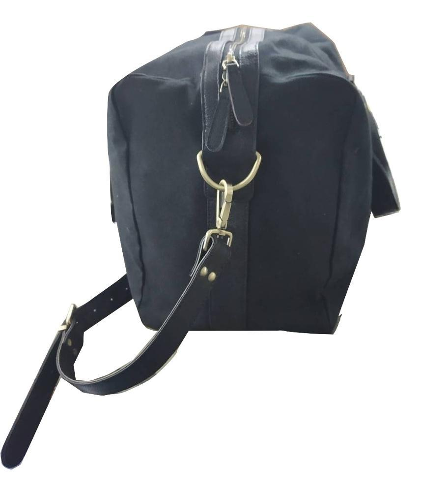Canvas  Duffle Bag with Leather Trims