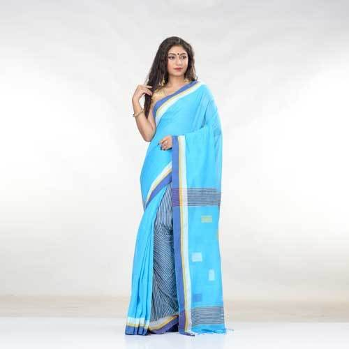 Ladies Sky Blue Cotton Saree