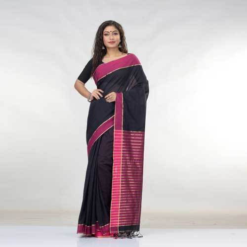Ladies Designer Black Cotton Saree