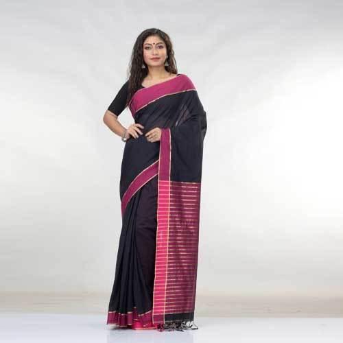 Ladies Designer Black Cotton Saree