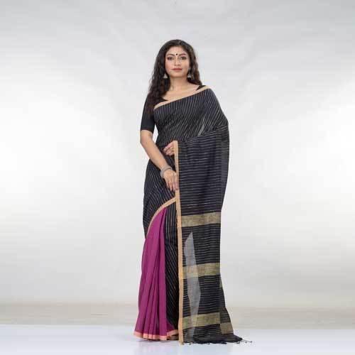 Ladies Black Cotton Saree