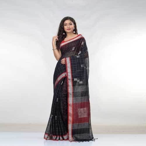 Ladies Designer Pure Linen Saree