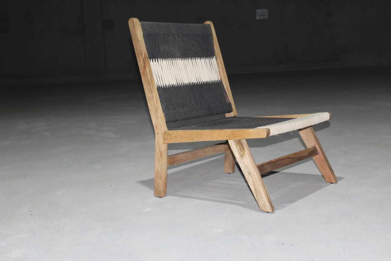 Wood + Rope Outdoor Lounge Chair, Beach Chair, Antique Chair.