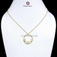 Gold Plated Rainbow Moonstone Faceted Pear and Oval Gemstone Wholesale 925 Sterling Silver Jewelry  Necklace