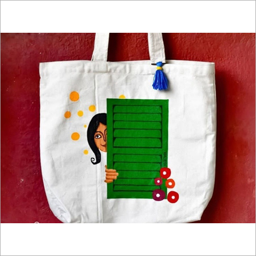 Jute Printed Shoulder Shopping Bag