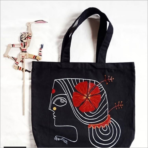 Jute Black Printed Shoulder Bag