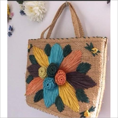 Jute Embroidered Shoulder Bag