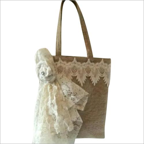 White Jute Fancy Shoulder Bag