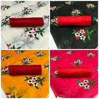 EMBROIDERED FLOWER DESIGN CHANDERI SAREE