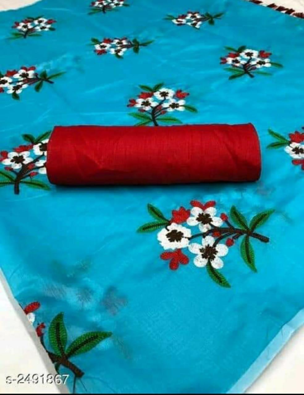 EMBROIDERED FLOWER DESIGN CHANDERI SAREE