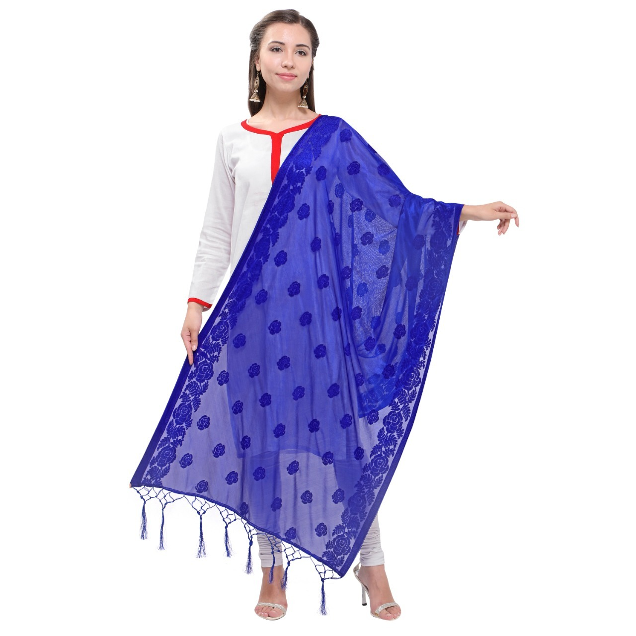 Fancy Silk Dupatta With Jhalar