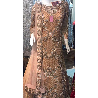 Ladies Golden Anarkali Gown