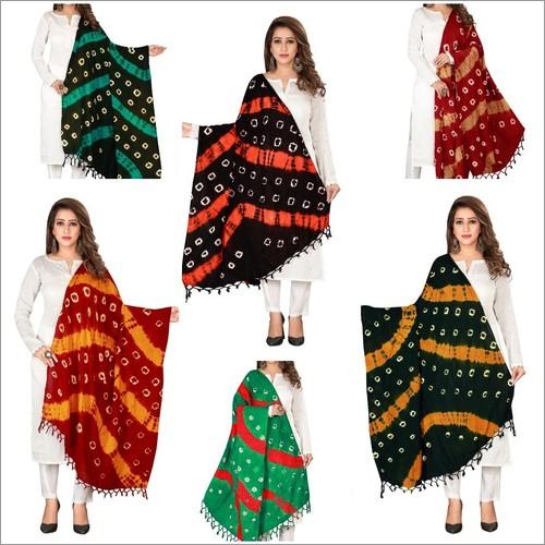 Designer Bandhej Pure Cotton Dupatta with Jhalar/ Tesels