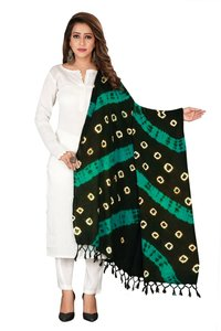 Designer Bandhej Pure Cotton Dupatta with Jhalar/ Tesels