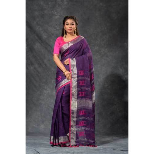 Ladies Party Wear Fancy Linen Saree