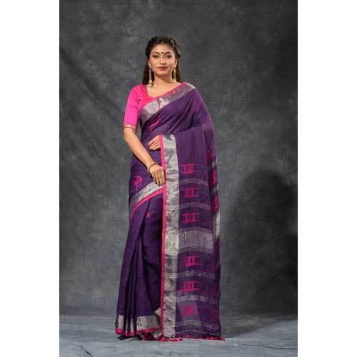 Ladies Party Wear Fancy Linen Saree