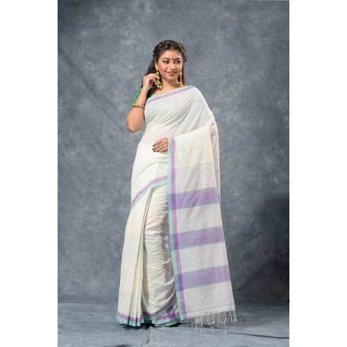 Ladies White Cotton Saree