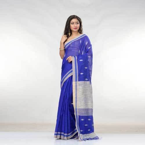 Ladies Blue Blended Cotton Saree