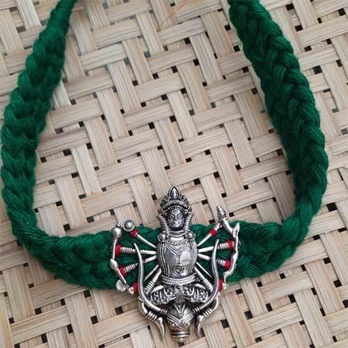 Handmade Cotton & Silver Necklace
